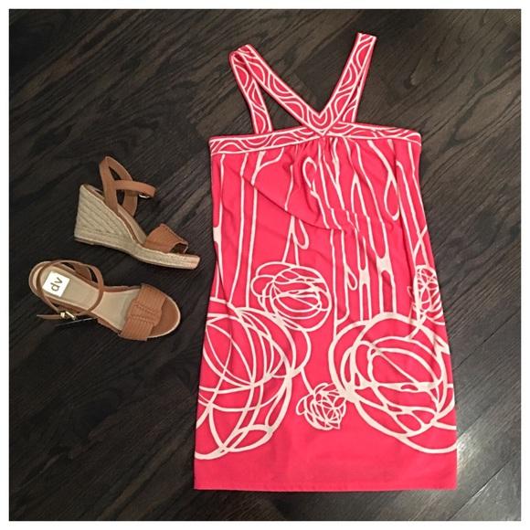 BCBGMaxAzria Dresses & Skirts - BCBG MaxAzria Pink & Cream Casual Day Dress