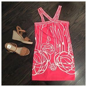 BCBGMaxAzria Dresses - BCBG MaxAzria Pink & Cream Casual Day Dress