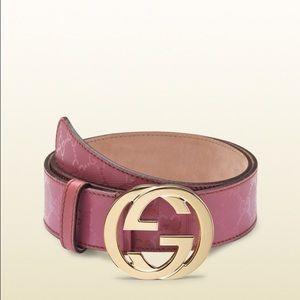 Gucci Accessories - Gucci Women's Dark Pink Imprimeé Belt Double GG's