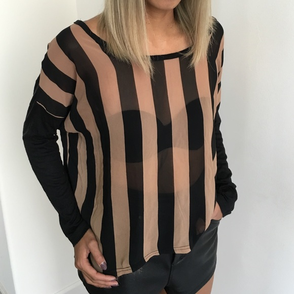 Nasty Gal Tops - Long Sleeve Striped Top