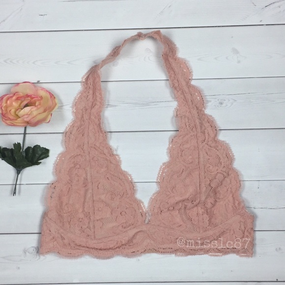 c359e74784 NWT dusty pink lace halter bralette