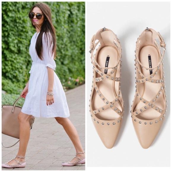 Zara Shoes | Zara Nude Studded Flats