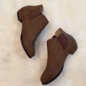 Boutique Shoes - Distressed Cognac Ankle Booties