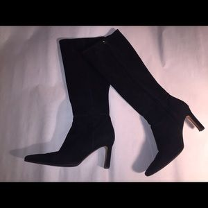CHANEL size 39 black suede side zip boots