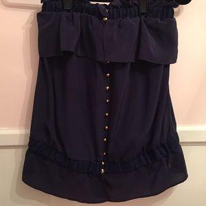 Navy blue strapless silk top
