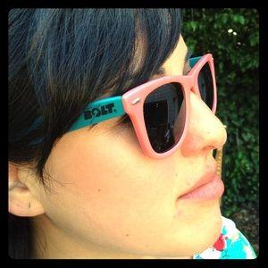 pink and teal lightening bolt eyewear sunglasses