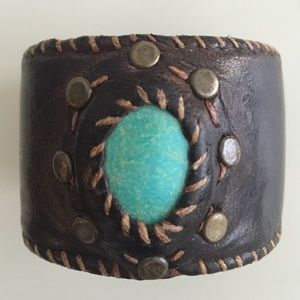 Jewelry - brown leather cuff with turquoise!