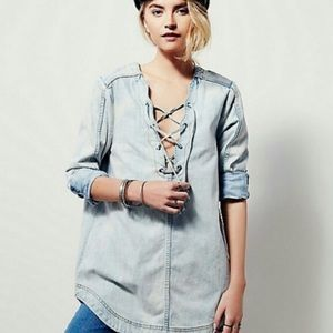 Free People Tops - Free People lace up chambray tunic