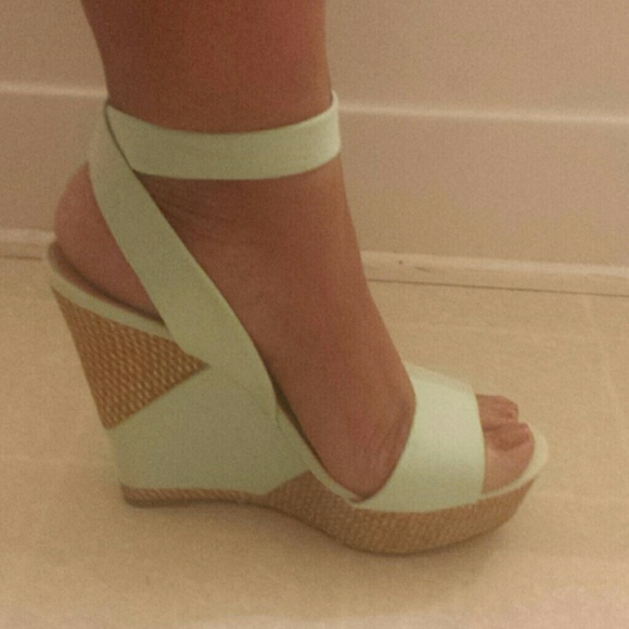 47937e609e5 JustFab Shoes - Cute wedge sandals sea-foam green