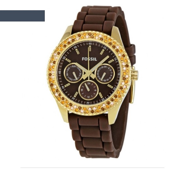 0b91b9587dbb Fossil Accessories - Fossil Stella Brown Silicone Ladies Watch
