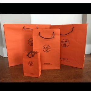 4 different size HERMES ORANGE PAPER BAG all mint