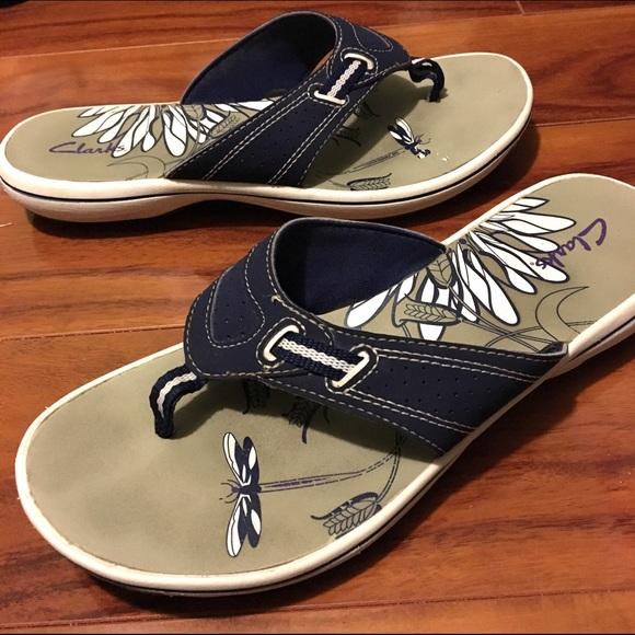 00a0e72f7f5 Clarks Shoes - Clarks Blue Thong Sandals Flip Flops