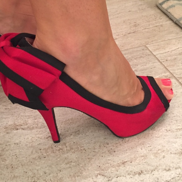 70% off Betsey Johnson Shoes - Betsey Johnson red satin bow back ...