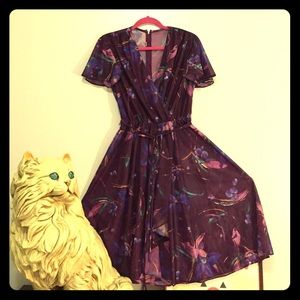Vintage Sheer Purple Fall Dress