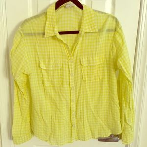 Loft bright yellow gingham button down