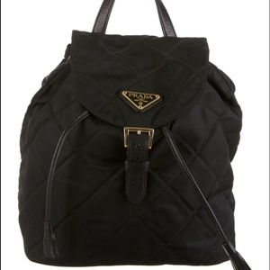 Prada quilted black nylon and leather backpack