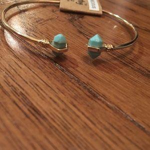 Semi Precious Turquoise Stone Tip Cuff Bracelet