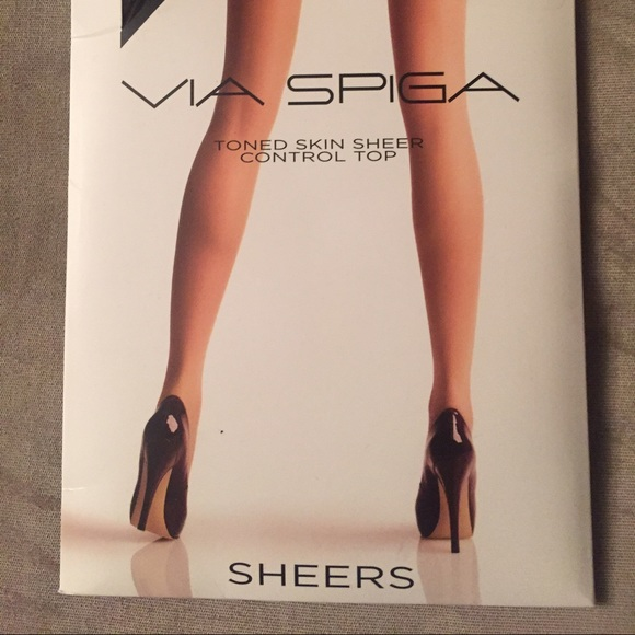 2f013234239 🌹Via Spiga Black Sheer Control Top Stockings
