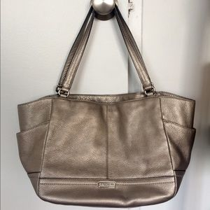 Coach tote (large) - metallic silver leather