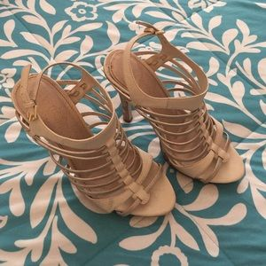 Paprika Shoes - Gold and cream strappy sandals