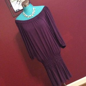 Max Studio Plum over the shoulder dress