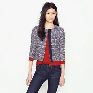 J CREW navy metallic tweed novelty Jacket