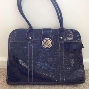 Animal print black patent leather shoulder bag