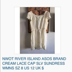 NWOT RIVER ISLAND ASOS CREAM LACE SUN DRESS 8 US
