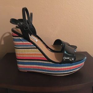 Steve Madden multicolored wedges with black patent