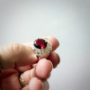 Silver Ring Red Stone