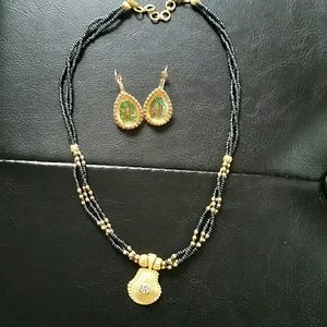 Jewelry - Black and gold tone necklace and earrings