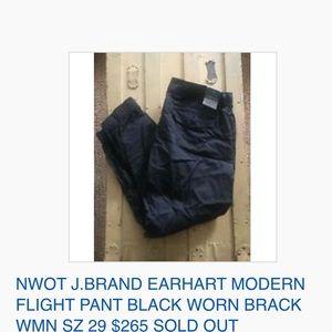 J Brand Pants - NWOT J.BRAND EARHART MOD FLIGHT PANT BLACK WORN 29