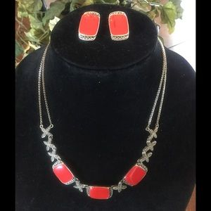 Jewelry - Red neckless/ earring set