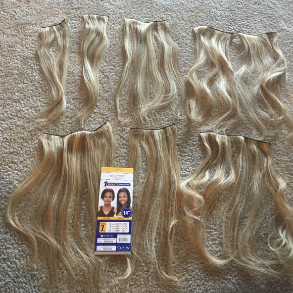 Milkyway Accessories Blonde 14 Clip In 100 Human Hair Extensions