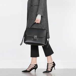 Zara High Heel Leather Point Toe Shoes With Straps