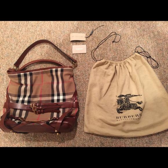 5f83a41cbb6a Burberry Handbags - BURBERRY House Check Bridle Gosford Hobo Bag
