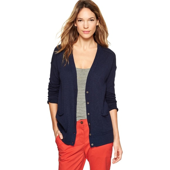 51% off Gap Sweaters - New GAP Navy Blue Slub Boyfriend Cardigan ...