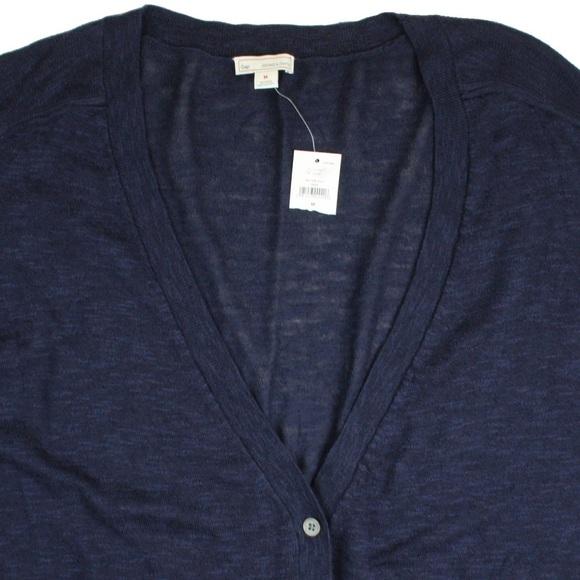51% off Gap Sweaters - New GAP Navy Blue Slub Boyfriend Cardigan ...
