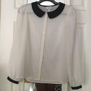 Cream button-down blouse
