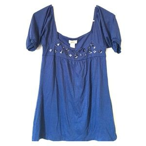 Tops - Royal/Navy Blue shirt with jewels in front-new