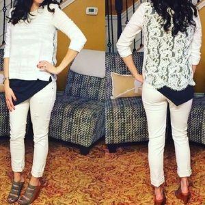 CAbi Sweaters - cabi Sophia white lace sweater - XS