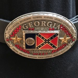 SPEC Georgia Enameled StateFlag Buckle & Belt NWOT