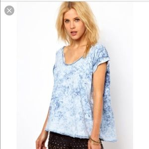 Free people acid wash oversized t shirt tee small