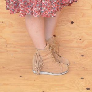 Hip Tan Suede Lace Up Fringe High Heel Booties 9