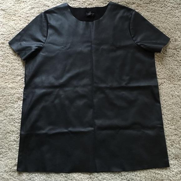 Topshop Tops Black Leather Look T Shirt Uk 4 Poshmark