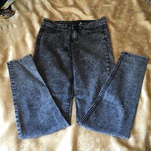 Black acid wash high waisted jeans