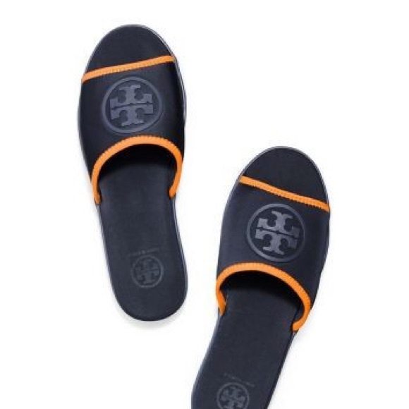 e9efcd9211cf86 Tory Burch Shoes - Tory Burch Neoprene Blue Orange Slides Sandal