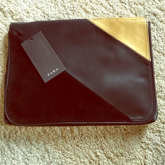 60 Off Zara Handbags Bnwt Black And Gold Clutch Bag