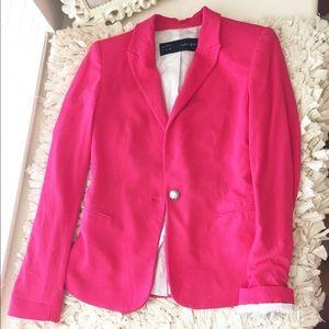 Zara fuchsia single button blazer jacket