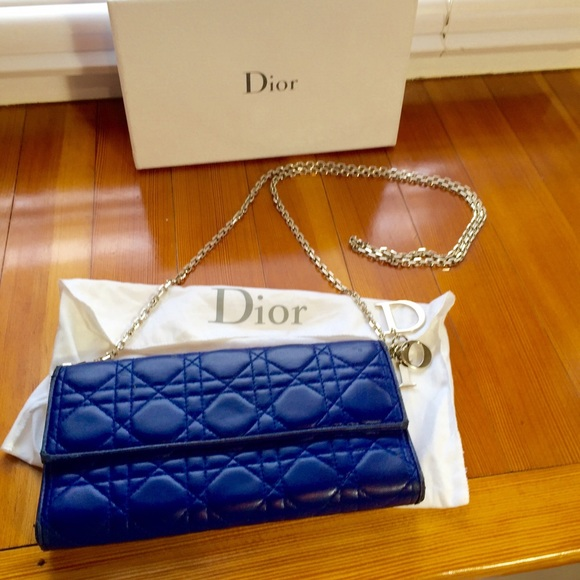 a8eadfe35c11 Dior Handbags - Dior blue lambskin cannage woc wallet on chain bag